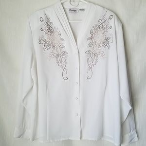 Joanna plus Long Sleeve Blouse White 2x